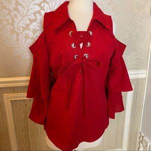 Va Va by Joy Han Xl cold shoulder lace up blouse